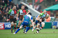 Mike Brown of Harlequins is tackled by Andrew Browne of Connacht Rugby during the Heineken Cup match between Harlequins and Connacht Rugby at The Twickenham Stoop on Saturday 12th January 2013 (Photo by Rob Munro).