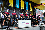 Team Ineos at the Team Presentation before the start of Stage 1 of Criterium du Dauphine 2020, running 218.5km from Clermont-Ferrand to Saint-Christo-en-Jarez, France. 12th August 2020.<br /> Picture: ASO/Alex Broadway | Cyclefile<br /> All photos usage must carry mandatory copyright credit (© Cyclefile | ASO/Alex Broadway)
