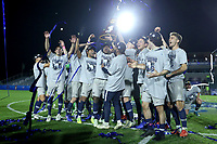 CARY, NC - DECEMBER 15: Georgetown University players celebrate with the NCAA Championship Trophy during a game between Georgetown and Virginia at Sahlen's Stadium at WakeMed Soccer Park on December 15, 2019 in Cary, North Carolina.