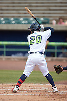 Andres Melendez (20) of the Lynchburg Hillcats at bat against the Myrtle Beach Pelicans at Bank of the James Stadium on May 23, 2021 in Lynchburg, Virginia. (Brian Westerholt/Four Seam Images)