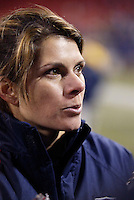 """Mia Hamm gives a post game interview. The US Women's National Team tied the Denmark Women's National Team 1 to 1 during game 8 of the 10 game the """"Fan Celebration Tour"""" at Giant's Stadium, East Rutherford, NJ, on Wednesday, November 3, 2004.."""