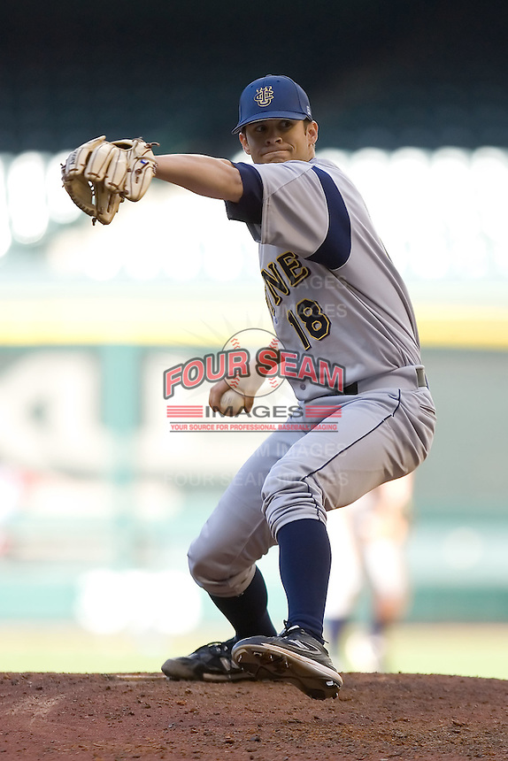 Relief pitcher Nick Hoover #18 of the UC-Irvine Anteaters in action versus the Houston Cougars in the 2009 Houston College Classic at Minute Maid Park February 28, 2009 in Houston, TX.  The Anteaters defeated the Cougars 13-7. (Photo by Brian Westerholt / Four Seam Images)