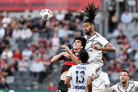 10th February 2021; Bankwest Stadium, Parramatta, New South Wales, Australia; A League Football, Western Sydney Wanderers versus Melbourne Victory; Ryan Shotton of Melbourne Victory beats Mark Natta of Western Sydney Wanderers to the cross for a clearing header