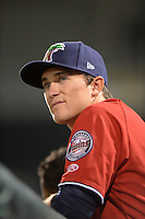 Fort Myers Miracle Logan Wade (4) in the dugout during a game against the Tampa Yankees on April 15, 2015 at Hammond Stadium in Fort Myers, Florida.  Tampa defeated Fort Myers 3-1 in eleven innings.  (Mike Janes/Four Seam Images)