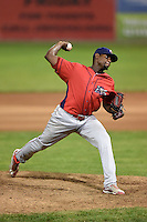 Williamsport Crosscutters pitcher Feliberto Sanchez (35) delivers a pitch during a game against the Batavia Muckdogs on August 26, 2014 at Dwyer Stadium in Batavia, New York.  Williamsport defeated Batavia 8-1.  (Mike Janes/Four Seam Images)