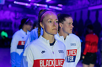 ORLANDO, FL - JANUARY 18: Becky Sauerbrunn #4 of the USWNT stands in the tunnel before a game between Colombia and USWNT at Exploria Stadium on January 18, 2021 in Orlando, Florida.