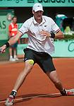 Paul Henri Mathieu (FRA)  battles at Roland Garros in Paris, France on May 31, 2012