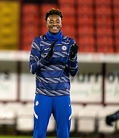 11th February 2021; Oakwell Stadium, Barnsley, Yorkshire, England; English FA Cup 5th round Football, Barnsley FC versus Chelsea; Tammy Abraham of Chelsea warms up as he starts for Chelsea