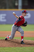 NJIT Highlanders starting pitcher Johnny Malatesta (20) delivers a pitch to the plate against the High Point Panthers during game one of a double-header at Williard Stadium on February 18, 2017 in High Point, North Carolina.  The Panthers defeated the Highlanders 11-0.  (Brian Westerholt/Four Seam Images)