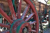 Closeup of old wagon wheel