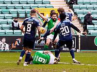 20th February 2021; Easter Road, Edinburgh, Scotland; Scottish Premiership Football, Hibernian versus Hamilton Academical; Christian Doidge of Hibernian is fouled in the box and penalty is awarded to Hibs