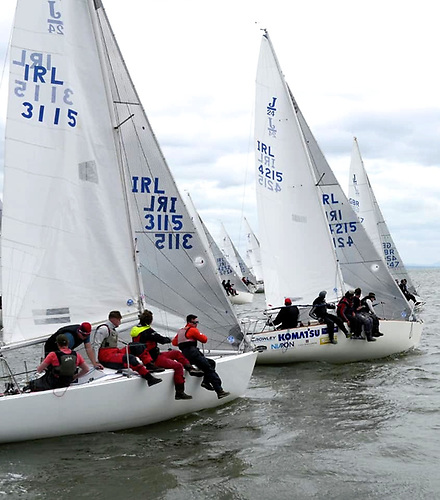 The J24s start their 2021 Irish season with last weekend's Southerns at Foynes, and overall winner Headcase (4547) narrowly getting the best of it. Photo: Foynes YC