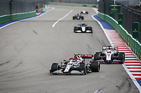26th September 2021; Sochi, Russia; F1 Grand Prix of Russia, Race Day:  99 GIOVINAZZI Antonio ita, Alfa Romeo Racing ORLEN C41 and 09 MAZEPIN Nikita rus, Haas F1 Team VF-21 Ferrari