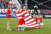 14 MAY 2011: An American flag is displayed before the International Friendly soccer match between Japan WNT vs USA WNT at Crew Stadium in Columbus, Ohio.