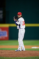 Binghamton Rumble Ponies relief pitcher Joshua Torres (26) gets ready to deliver a pitch during a game against the Erie SeaWolves on May 14, 2018 at NYSEG Stadium in Binghamton, New York.  Binghamton defeated Erie 6-5.  (Mike Janes/Four Seam Images)