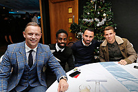 Pictured: Lee Trundle, Nathan Dyer, Leon Britton and Tom Carroll of Swansea City <br /> Re: Swansea City FC Christmas party at the Liberty Stadium, Wales, UK. Thursday 14 December 2017
