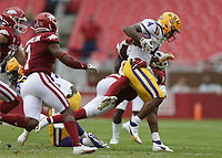 LSU running back John Emery Jr. (4) carries the ball, Saturday, November 21, 2020 during the third quarter of a football game at Donald W. Reynolds Razorback Stadium in Fayetteville. Check out nwaonline.com/201122Daily/ for today's photo gallery. <br /> (NWA Democrat-Gazette/Charlie Kaijo)