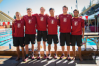 STANFORD, CA - February 17, 2018: Ted Miclau, Sam Perry, Liam Egan, Andrew Liang, Curtis Ogren, Tarek Abdelghany at Avery Aquatic Center. The Stanford Cardinal defeated the California Golden Bears 151-149 on Senior Day.