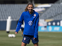 CHICAGO, IL - OCTOBER 5: Tobin Heath #17 of the United States laughs at Soldier Field on October 5, 2019 in Chicago, Illinois.