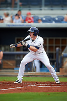 Charlotte Stone Crabs shortstop Alec Sole (6) squares around to bunt during the first game of a doubleheader against the Tampa Yankees on July 18, 2017 at Charlotte Sports Park in Port Charlotte, Florida.  Charlotte defeated Tampa 7-0 in a game that was originally started on June 29th but called to inclement weather.  (Mike Janes/Four Seam Images)