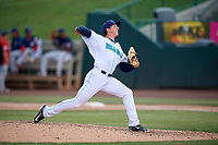 Lynchburg Hillcats relief pitcher James Karinchak (37) delivers a pitch during the first game of a doubleheader against the Potomac Nationals on June 9, 2018 at Calvin Falwell Field in Lynchburg, Virginia.  Lynchburg defeated Potomac 5-3.  (Mike Janes/Four Seam Images)