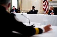 United States President Donald J. Trump looks on as US Attorney General William P. Barr makes remakes as he participates in a roundtable with law enforcement officials, hosted by US President Donald Trump in the State Dining Room of the White House, in Washington, DC, Monday, June, 8, 2020.<br /> Credit: Doug Mills / Pool via CNP/AdMedia