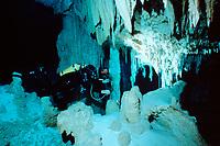 cave diver in Dos Ojos ( Two Eyes ) Cenote, Yucatan Peninsula, Mexico, Caribbean, Atlantic Ocean