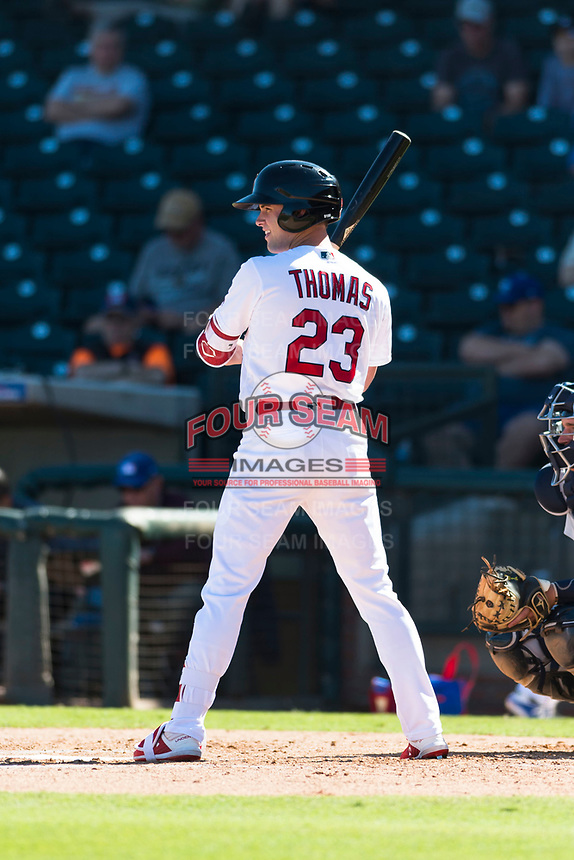 Surprise Saguaros center fielder Lane Thomas (23), of the St. Louis Cardinals organization, at bat during an Arizona Fall League game against the Peoria Javelinas at Surprise Stadium on October 17, 2018 in Surprise, Arizona. (Zachary Lucy/Four Seam Images)