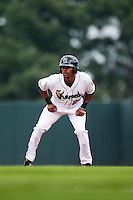 Cedar Rapids Kernels right fielder Jaylin Davis (24) leads off first base during a game against the Dayton Dragons on July 24, 2016 at Perfect Game Field in Cedar Rapids, Iowa.  Cedar Rapids defeated Dayton 10-6.  (Mike Janes/Four Seam Images)