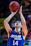 Tang Chi Hang #14 of Eastern Long Lions concentrates prior to a free throw during the Hong Kong Basketball League playoff game between SCAA and Eastern Long Lions at Queen Elizabeth Stadium on July 27, 2018 in Hong Kong. Photo by Yu Chun Christopher Wong / Power Sport Images