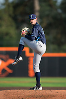 Wilmington Blue Rocks starting pitcher Scott Blewett (45) in action against the Buies Creek Astros at Jim Perry Stadium on April 29, 2017 in Buies Creek, North Carolina.  The Astros defeated the Blue Rocks 3-0.  (Brian Westerholt/Four Seam Images)