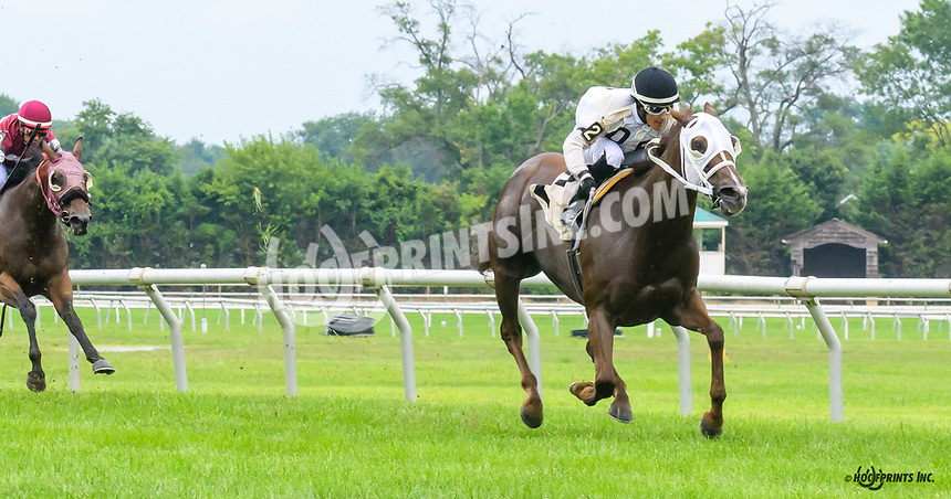 Dancing Lucy winning at Delaware Park on 7/30/18