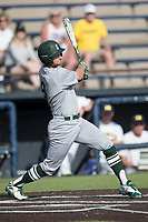 Eastern Michigan Eagles outfielder Jordan Peterson (3) follows through on his swing during the NCAA baseball game against the Michigan Wolverines on May 16, 2017 at Ray Fisher Stadium in Ann Arbor, Michigan. Michigan defeated Eastern Michigan 12-4. (Andrew Woolley/Four Seam Images)