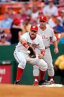 3 September 2005: Nick Johnson, first  baseman for the Washington Nationals, make a play at first during a game against the Philadelphia Phillies. The Nationals defeated the Phillies 5-4 at RFK Stadium in Washington, DC. <br />