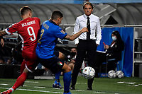 Roberto Mancini coach of Italy looks a challenge during the Qatar 2022 world cup qualifying football match between Italy and Lithuania at Citta del tricolore stadium in Reggio Emilia (Italy), September 8th, 2021. Photo Andrea Staccioli / Insidefoto