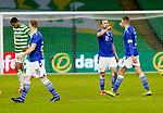 Celtic v St Johnstone…06.12.20   Celtic Park      SPFL<br />Chris Kane and Liam Gordon fist bump at full time<br />Picture by Graeme Hart.<br />Copyright Perthshire Picture Agency<br />Tel: 01738 623350  Mobile: 07990 594431