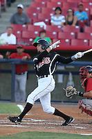 Zach Shank #2 of the Visalia Rawhide bats against the High Desert Mavericks at Heritage Field on July 19, 2014 in Adelanto, California. Visalia defeated High Desert, 10-9. (Larry Goren/Four Seam Images)