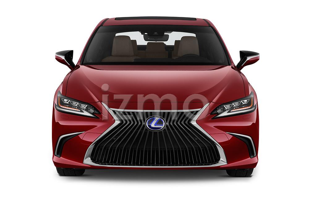 Car photography straight front view of a 2019 Lexus ES 300h-Privilege-Line 4 Door Sedan Front View