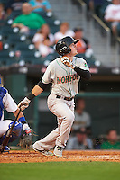 Norfolk Tides left fielder Mike Yastrzemski (3) at bat during a game against the Buffalo Bisons on July 18, 2016 at Coca-Cola Field in Buffalo, New York.  Norfolk defeated Buffalo 11-8.  (Mike Janes/Four Seam Images)