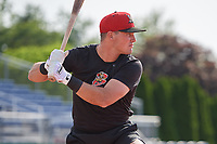 Batavia Muckdogs Nic Ready bats during practice on June 12, 2019 at Dwyer Stadium in Batavia, New York.  (Mike Janes/Four Seam Images)