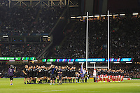 New Zealand and Georgia sing the national anthems before Match 23 of the Rugby World Cup 2015 - 02/10/2015 - Millennium Stadium, Cardiff<br /> Mandatory Credit: Rob Munro/Stewart Communications
