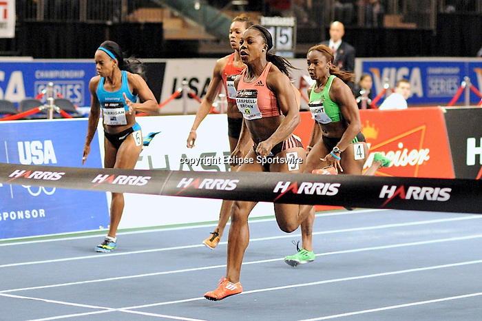 Veronica Campbell-Brown wins the women's 50 meter dash at the first U.S. Open on January 29, 2012 at Madison Square Garden in New York, New York.  (Bob Mayberger/Eclipse Sportswire)