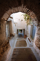 Narrow defensive lanes of Ioulis (Chora) administrative centre  town of Kea, Greek Cyclades Islands.