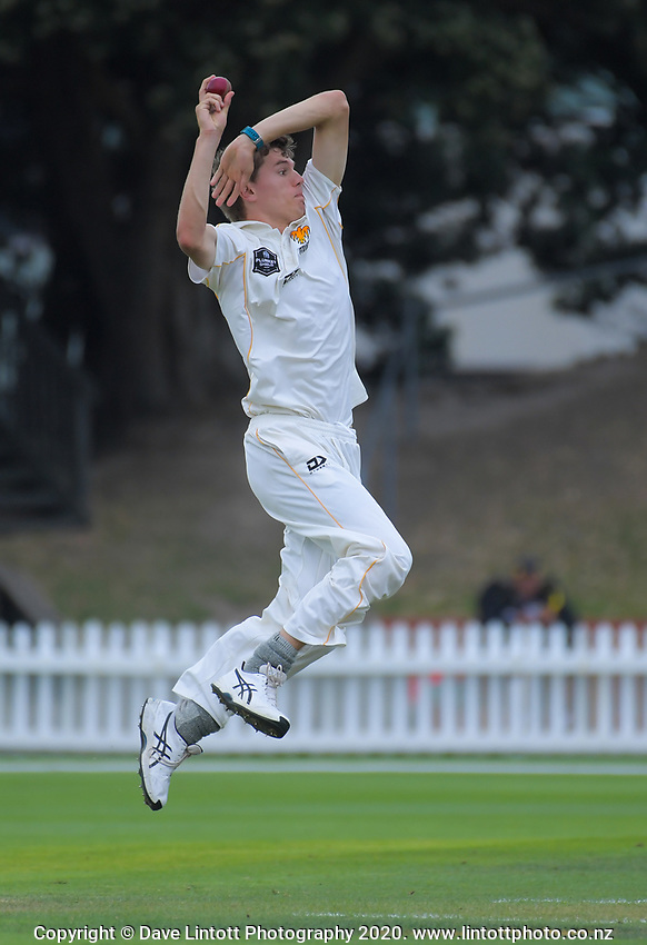 Ben Sears bowls during day two of the Plunket Shield cricket match between the Wellington Firebirds and Central Districts at Basin Reserve in Wellington, New Zealand on Monday, 2 March 2020. Photo: Dave Lintott / lintottphoto.co.nz
