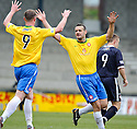 ACCIES MARK MCLAUGHLIN (RIGHT) CELEBRATES WITH JON MCSHANE (9) AFTER HE  SCORES HAMILTON'S FIRST