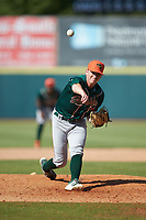 Greensboro Grasshoppers relief pitcher John O'Reilly (31) in action against the Hickory Crawdads at L.P. Frans Stadium on May 26, 2019 in Hickory, North Carolina. The Crawdads defeated the Grasshoppers 10-8. (Brian Westerholt/Four Seam Images)