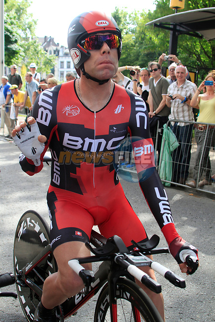 Cadel Evans (AUS) BMC Racing Team gets ready before the Prologue of the 99th edition of the Tour de France 2012, a 6.4km individual time trial starting in Parc d'Avroy, Liege, Belgium. 30th June 2012.<br /> (Photo by Eoin Clarke/NEWSFILE)