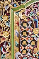 Jatiluwih, Bali, Indonesia.  Floral Decoration on Temple Door, Luhur Bhujangga Waisnawa Hindu Temple.
