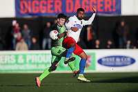 Connor Dimaio of Stockport and Luke Croll of Dagenham during Dagenham & Redbridge vs Stockport County, Vanarama National League Football at the Chigwell Construction Stadium on 8th February 2020