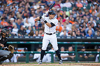 Mikie Mahtook (15) of the Detroit Tigers at bat against the Chicago White Sox at Comerica Park on June 2, 2017 in Detroit, Michigan.  The Tigers defeated the White Sox 15-5.  (Brian Westerholt/Four Seam Images)